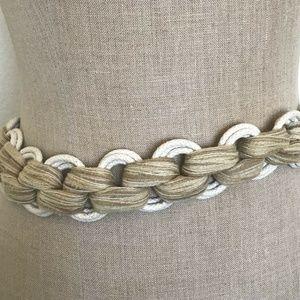 Vintage Accessories - Vintage 80's Cinch Belt Rope Natural Yarn Wood